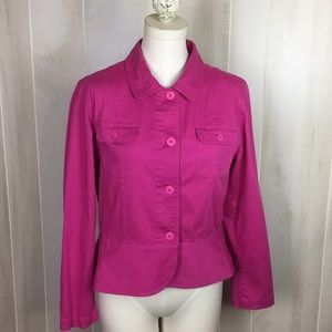 HANNAH Stretch Pink Button Down Peplum Jacket  L